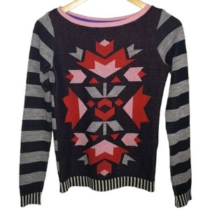 3/30$ Abstract / Aztec Multicolored Knit Sweater